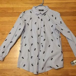 Karl Lagerfeld Paris Button Down Cotton Top